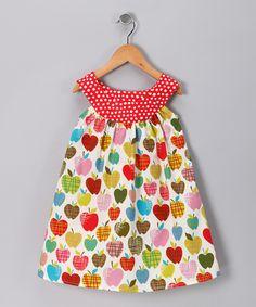 Great idea for fabric match up... Rainbow Apple Yoke Dress