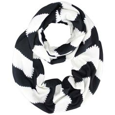 Black & White Chevron Striped Jersey Knit Circle Scarf (23 BAM) ❤ liked on Polyvore featuring accessories, scarves, lightweight, infinity scarf, tube scarf, long infinity scarves, infinity scarves and loop scarves