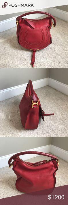 Marcie Hobo Leather Red Marcie Leather Handbag Medium Chloe Bags Hobos