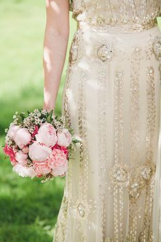 pink peony bouquet // photo by Hjartesmil // http://ruffledblog.com/glitzy-norwegian-wedding