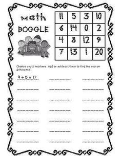 Math Boggle is a great warm up or early finishers activity. Here's a free printable you can use. You could also just write the numbers up on the board or create your own!