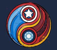 Iron Man and Captain America fan art Yin Yang Heros Comics, Marvel Dc Comics, Marvel Heroes, Marvel Avengers, Steve Rogers, Marvel Universe, Logo Spa, Captain America Civil War, Captain America Tattoo