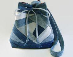 Blue Jean Denim Drawstring Bucket Bag Purse, Crazy Quilt Fabric Shoulder Bag Handbag, Upcycled  Recycled Repurposed Denim Fabric Bag