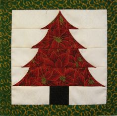 Curved Christmas Tree block at Tennessee Quilts.  Based on a quilt pattern by Marcia Harmening. Squares and rectangles are folded on the bias and inserted into each block, then the bias edges are folded over and top stitched.