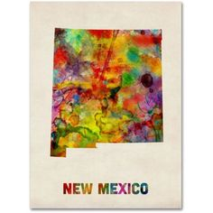 Trademark Fine Art New Mexico Map Canvas Wall Art by Michael Tompsett, Size: 18 x 24, Multicolor