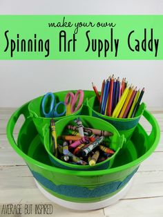 Keep your art supplies organized and within easy reach with a simple DIY Spinning Art Supply Caddy! #MonthlyDIYChallenge