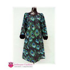 Langarmkleid Pfauenfedern Druck grün blau  von Zellmann Fashion auf DaWanda.com