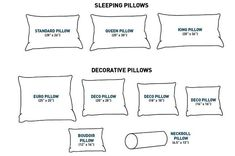 standard measurements of bed pillows - Google Search