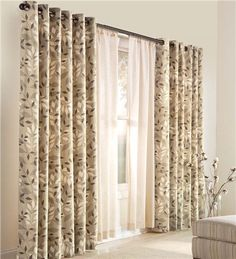 curtains have an attractive finish, substantial weight and a soft feel. They're made of cotton with a rich, woven texture just like duckcloth and backed with an acrylic suede liner. Gray Sheer Curtains, Leaf Curtains, Wood Curtain, Layered Curtains, Grommet Curtains, Panel Curtains, Drapery, Installing Curtain Rods, Hanging Drapes