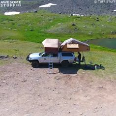 These Tuff Stuff Rooftop Camping Tents go onto the roof of your car for the duration of your camping trip. They unfold in minutes, and don't take any space on the camping ground! Todo Camping, Truck Bed Camping, Travel Trailer Camping, Best Camping Gear, Camping Survival, Camping Hacks, Camping Ideas, Camping Supplies, Camping Checklist