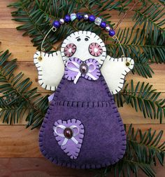 Wool Felt Vineyard Angel Money Holder Ornament by FHGoldDesigns