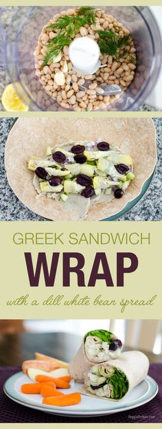Greek Sandwich Wrap with a dill white bean spread | VeggiePrimer.com  #sandwich #wrap #lunch #vegan #glutenfree