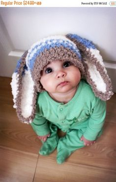 15% SALE 0 to 3m Newborn Boy Baby Hat Easter Bunny by BabaMoon