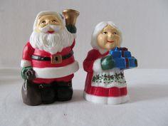 SANTA and Mrs Claus SALT & PEPPER Set by CellarDeals on Etsy
