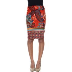 White Mark Stretchy Material Pencil Skirt - Brown - Size Small -... ($26) ❤ liked on Polyvore featuring skirts, stretchy skirts, pencil skirts, stretch pencil skirt, brown pencil skirt and knee length pencil skirt