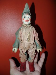 "Antique 1910 Schoenhut Wooden HUMPTY DUMPTY CIRCUS CLOWN Wooden Toy 9"" Tall! #Schoenhut"