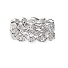 Stella and Dot Stackable Deco Rings NWT Stella and Dot set of three stackable silver plated rings with sparkling CZ's in a size 7. Stella & Dot Jewelry Rings