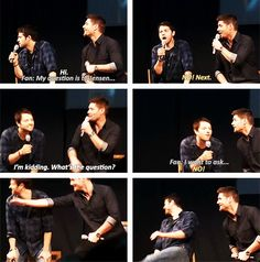 [SET OF GIFS] Misha and Jensen convention panel at JIB2013 :) // OMG! The bottom left GIF is so precious!!! <3 i love them
