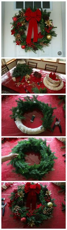 How To Make a Gourmet Homemade Christmas Wreath & Simple Advent Wreath is part of Christmas crafts Wreaths - A stepbystep tutorial with pictures, tips and ideas for making your own Homemade Christmas Wreath and Advent Wreath Homemade Christmas Wreaths, Noel Christmas, Holiday Wreaths, Winter Christmas, Christmas Ornaments, Reindeer Christmas, Make Your Own Wreath Christmas, Pool Noodle Christmas Wreath, Pool Noodle Wreath