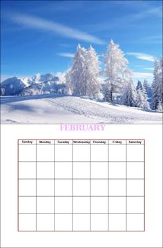 February Season Calendar, Paint Shop, February, Seasons, Mountains, Nature, Painting, Travel, Outdoor