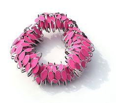 Mirjam Hiller  Brooch: Venturium Pink 2012  Stainless steel, powdercoating
