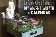 Advent Family Traditions (+ DIY Wreath & Calendars) Our family has some fun Advent traditions like our homemade Advent wreath, making the Advent calendar, putting out the nativity . and the scary Krampus! Look at ABC's of advent book Catholic Advent Wreath, Christmas Advent Wreath, Christmas Candles, Christmas Crafts, Advent Wreaths, Christmas Ideas, Catholic Crafts, Reindeer Christmas, Nordic Christmas