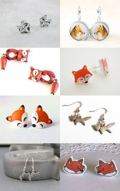 T-Time. Cute Fox Earrings by EyeLoveKnots on Etsy--Pinned with TreasuryPin.com