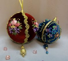 Holiday Lane Set of 4 Peacock Ball & Drop Ornaments Quilted Christmas Ornaments, Ribbon On Christmas Tree, Fabric Ornaments, Beaded Ornaments, Christmas Baubles, Felt Ornaments, Peacock Christmas, Christmas Tree Decorations, Holiday Crafts