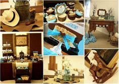 "Photo 1 of 69: Western/Cowboy / Baby Shower/Sip & See ""Western Cowboy Baby Shower in Brown, Beige, and Aqua"" 