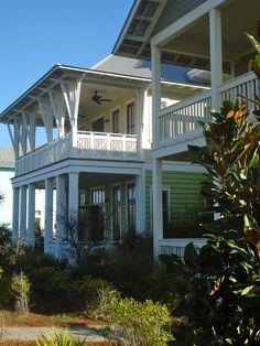 #beachHouse, big brackets on balcony, soft colors and white, Watercolor, Fl