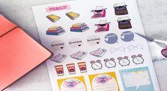 Baixe grátis a cartela de adesivos. Para decorar o planner, agenda, ou o caderno. Aqui tem freebie!