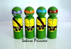 Set of 4 Ninja Turtle Peg Dolls  cake toppers  by mysakuraprincess, $40.00