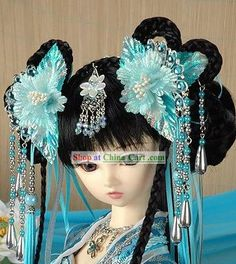 Ancient Chinese Imperial Princess Hair Accessories and Wig Complete Set rental set traditional buy purchase on sale shop supplies supply sets equipemnt equipments Asian Hair Ornaments, Chinese Dolls, Hanfu, Cheongsam, Princess Hairstyles, Hair Reference, Ancient China, Pretty Dolls, Bjd Dolls