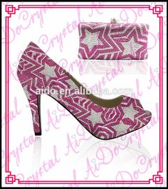 Aidocrystal Italian shoes and bag set in pink color star design matching  shoes and bag e9695973dd36