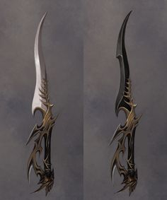 Sancrin blade (white blade is almost no weight and clean cuts through anything if wielded correctly ) (black blade makes every cut deadly, can kill anything and can summon the Shadow Realm powers Fantasy Blade, Fantasy Dagger, Fantasy Sword, Fantasy Armor, Fantasy Weapons, Dark Fantasy Art, Ninja Weapons, Anime Weapons, Weapons Guns