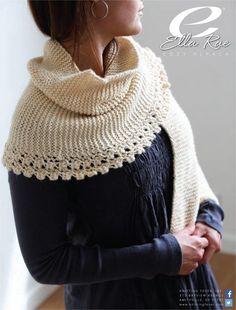 "Design: Cozy Alpaca - Garter Stitch & Lace Edge Wrap, from ""Cozy Alpaca - Garter St & Lace Wrap"" using Ella Rae Cozy Alpaca Knit Or Crochet, Lace Knitting, Crochet Shawl, Crochet Pattern, Knitting Patterns, Knitted Cowl Patterns, Knitting Projects, Crochet Scarfs, Knit Scarves"