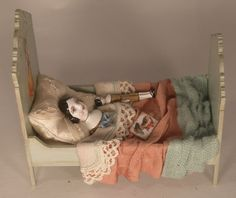 For the playroom: Miniature Dolly in Bed with her doll in 1/12 scale by Gale Elena Bantock