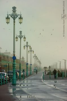 52 Week Photography Project - Leading Lines - Misty Morning In this picture, the lamp posts act like a leading line making your eyes move with it. Brighton Photography, Line Photography, Perspective Photography, Photography Projects, Creative Photography, Digital Photography, Photography Composition, Street Photography, Inspiring Photography