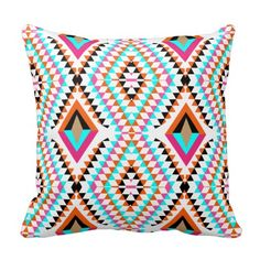 #Funky Bright Fresh #Colorful #Geometric Fabric Print Throw Pillow #homeDecor #HomeAccessories #HomeAccents