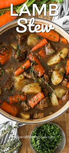 Lamb Stew (Irish Stew) – Spend With Pennies This Irish stew is an easy homemade stew recipe featuring lamb, Guinness beer, and deliciously tender vegetables. It's a family favorite! Irish Recipes, Lamb Recipes, Soup Recipes, Cooking Recipes, Healthy Recipes, Lamb Casserole Recipes, Cabbage Casserole, Casserole Dishes, Lunch Recipes