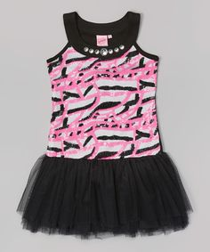 Pink & Black Sequin Stripe Tutu Dress - Girls by Lipstik Girls #zulily #zulilyfinds