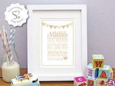 A personal favourite from my Etsy shop https://www.etsy.com/uk/listing/256823269/personalised-babybirthchristening-print
