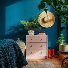 This popular blue paint color is Deep Dive by Clare. This sophisticated blue paint features a hint of green undertones. ⠀⠀⠀⠀⠀⠀⠀⠀⠀ #clarepaint #paintcolors #colorinspo #lifecolorfully #decor Ikea Rast Dresser, Dresser As Nightstand, Pink Dresser, Brimnes Bed, Best Blue Paint Colors, Bedroom Green, Bedroom Small, Dream Bedroom, Master Bedroom