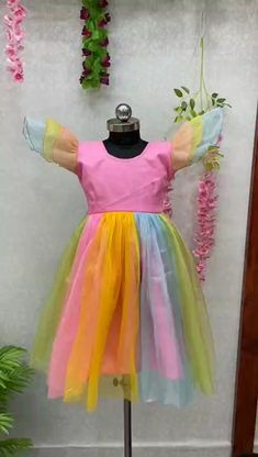Price Rs 740 + Shipping extra WE ARE LAUNCHING NEW DESIGNER RAINBOW KIDS FROCK Frock Details Fabric: SOFT PURE TISSUE NET AND BACK SIDE FANCY BEAUTIFUL FLOWER Inner:- 2 LAYER, SILK AND COTTON BASE WITH CAN CAN Size Years:- 1 TO 2 Chest Size: 24 INCHES Length:- 20 INCHES Size:- 18 Years: 2 to 4 Chest Size:- 25 INCHES Length:- 24 INCHES Size:- 22 Years: 4 to 6 Chest Size:- 28 INCHES Length:- 27 INCHES Frocks For Girls, Kids Frocks, Cute Girl Outfits, Girl Online, Girls Wear, Lehenga Choli, Boy Or Girl, Fancy, Gowns