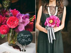 bright bold flowers (love the striped ribbon around the bouquet)