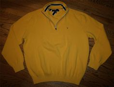 Men's Tommy Hilfiger Half-Zip Gold Pullover Golf cotton Sweater-Large-travel/New