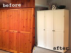 "He was just ""pining"" for a makeover ... Har har, we are ""punny""  Ikea hack. Painting an old dated ikea pine wardrobe gives it a brand new life. www.facebook.com/difydesign  www.difydesign.com"