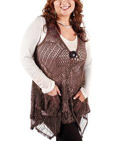 Look at this #zulilyfind! Deep Mocha Crochet Handkerchief Vest - Plus by Lily #zulilyfinds