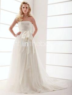 A-line Strapless Court Train Chiffon Wedding Dress - US$199.99