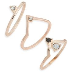 Women's Topshop Supernova Set Of Three Stacking Rings ($15) ❤ liked on Polyvore featuring jewelry, rings, accessories, rose gold, sparkle jewelry, rose gold jewelry, red gold ring, stackable rings and pink gold rings